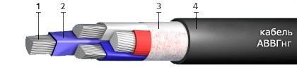 Кабель АВВГнг (АВВГ нг) 4x6,0 силовой алюминиевый в ПВХ