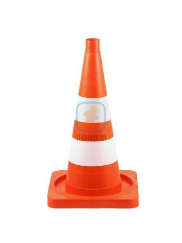 Конус сигнальный КС 2.6 (520 мм) оранжевый, 1 белая полоса, 1 светоотражающая полоса