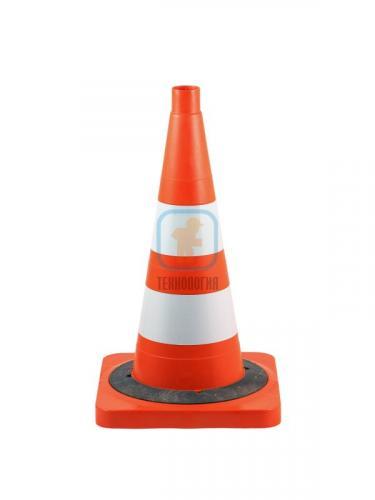 Конус сигнальный КС 2.8.0 (С утяжелителем) оранжевый, 2 светоотражающие полосы