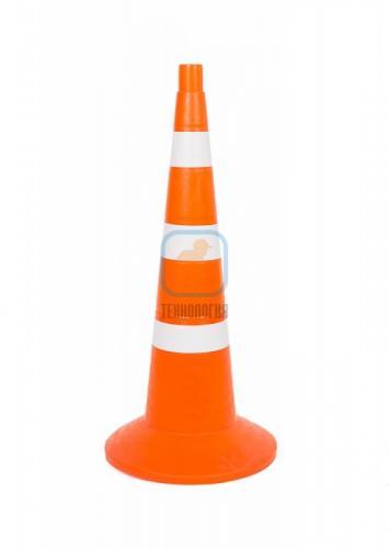 Конус сигнальный с утяжелителем КС 3.4.0 (750 мм) оранжевый, 3 белые полосы