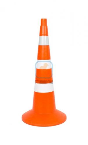 Конус сигнальный с утяжелителем КС 3.6.0 (750 мм) оранжевый, 3 полосы: 1 светоотражающая, 2 белые