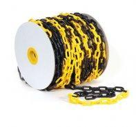 Цепь пластиковая черно-желтая для ограждения, 8мм, Бухта 50 м