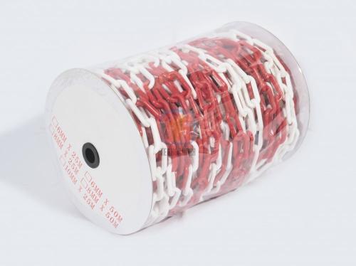 Цепь пластиковая сигнальная для ограждения красно-белая, 8мм, Бухта 25м