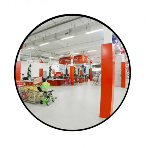 Зеркало для помещений круглое на гибком кронштейне 600мм