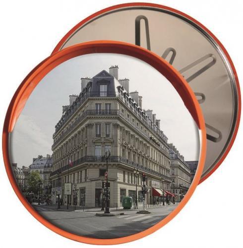 Зеркало сферическое круглое с козырьком из нержавеющей стали 1000 мм
