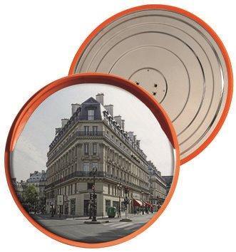 Зеркало сферическое круглое с козырьком из нержавеющей стали 490 мм