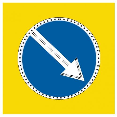 Дорожный знак 4.2.1, 4.2.2  900x900 (щит с желтым фоном) светодиоды по контуру и стрелке