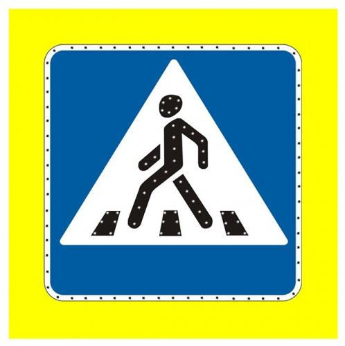 Импульсный знак 5.19.1/ 5.19.2 (щит с желтым фоном) 900x900 светодиоды по контуру и символу