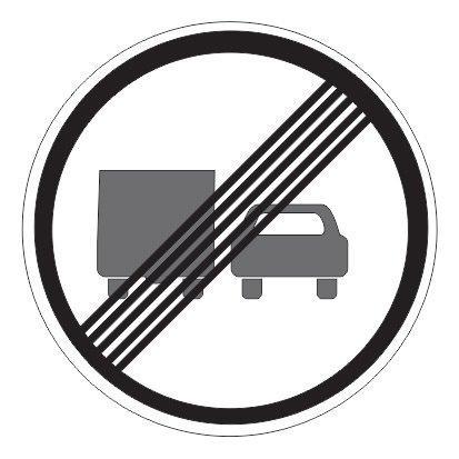 3.23 — Конец зоны запрещения обгона грузовым автомобилям