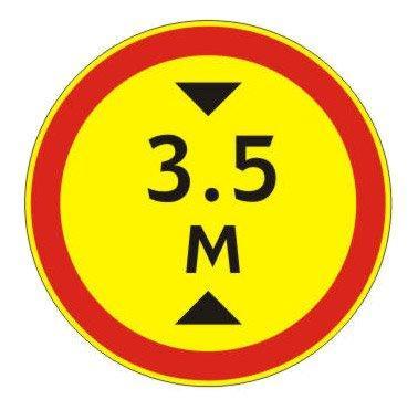 3.13 — Ограничение высоты - временный дорожный знак на желтом фоне
