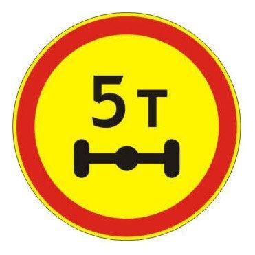3.12 — Ограничение нагрузки на ось - временный дорожный знак на желтом фоне