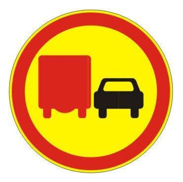 3.22 — Обгон грузовым автомобилям запрещен - временный (на желтом фоне)