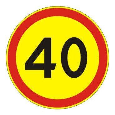 3.24 — Ограничение максимальной скорости 40 (на желтом фоне)