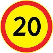 3.24 — Ограничение максимальной скорости 20 (на желтом фоне)