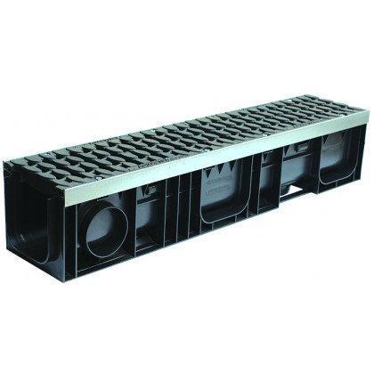 Лоток пластиковый SteeStart  Е600 в комплекте с решеткой чугунной DN150 H202