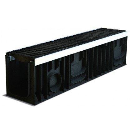 Лоток пластиковый SteeStart  Е600 в комплекте с решеткой чугунной DN150 H247
