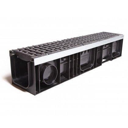 Лоток пластиковый SteeStart  Е600 в комплекте с решеткой чугунной DN200 H202