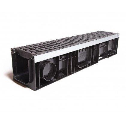 Лоток пластиковый SteeStart  Е600 в комплекте с решеткой чугунной DN200 H117