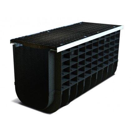 Лоток пластиковый SteeStart  С250 в комплекте с решеткой чугунной DN300 H265