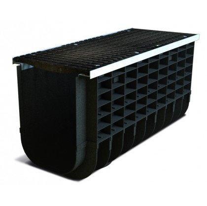Лоток пластиковый SteeStart  С250 в комплекте с решеткой чугунной DN300 H315