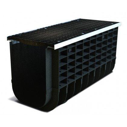 Лоток пластиковый SteeStart  С250 в комплекте с решеткой чугунной DN300 H365