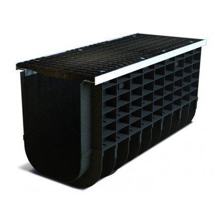 Лоток пластиковый SteeStart  С250 в комплекте с решеткой чугунной DN300 H415