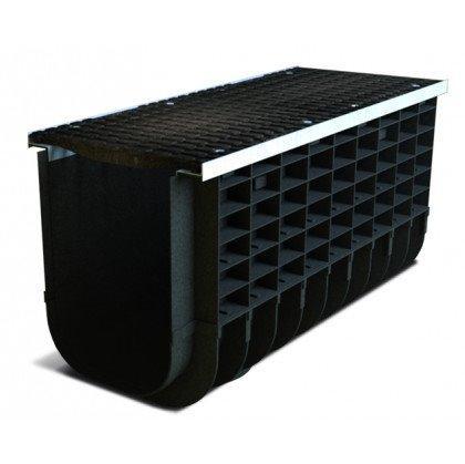 Лоток пластиковый SteeStart  С250 в комплекте с решеткой чугунной DN300 H465