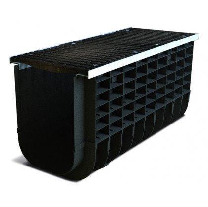 Лоток пластиковый SteeStart  С250 в комплекте с решеткой чугунной DN300 H515
