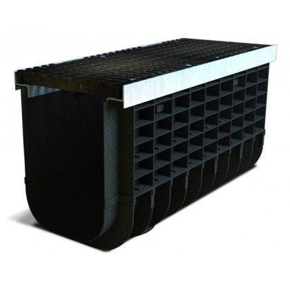 Лоток пластиковый SteeStart  Е600 в комплекте с решеткой чугунной DN300 H335