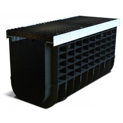 Лоток пластиковый SteeStart  Е600 в комплекте с решеткой чугунной DN300 H385