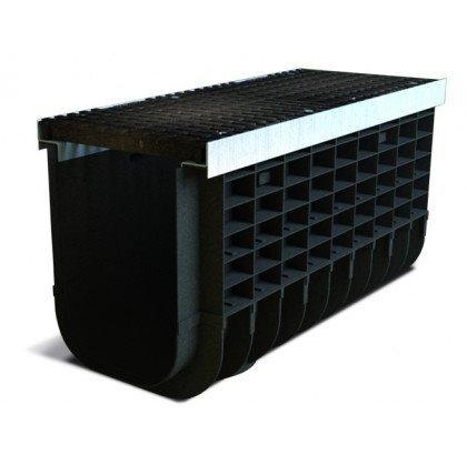 Лоток пластиковый SteeStart  Е600 в комплекте с решеткой чугунной DN300 H485
