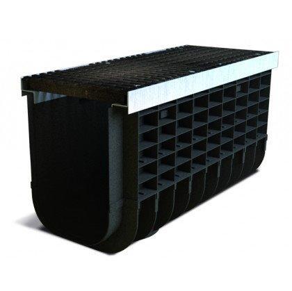 Лоток пластиковый SteeStart  Е600 в комплекте с решеткой чугунной DN300 H535