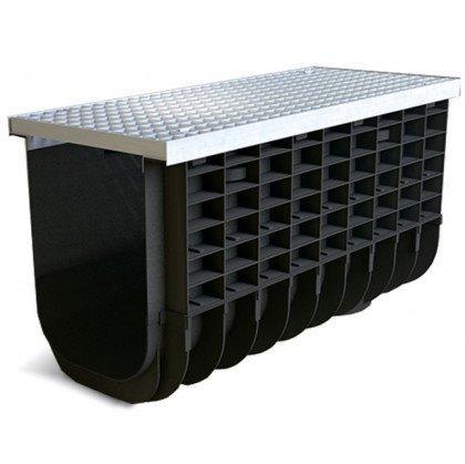 Лоток пластиковый SteeStart  А15 в комплекте с решеткой ячеистой DN300 H375