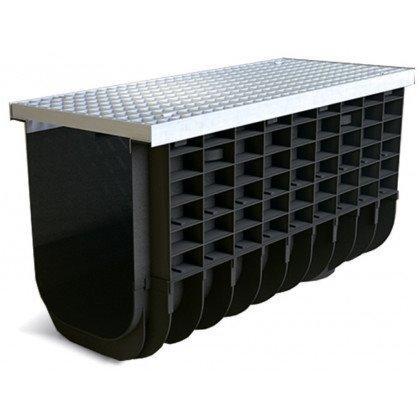 Лоток пластиковый SteeStart  А15 в комплекте с решеткой ячеистой DN300 H425