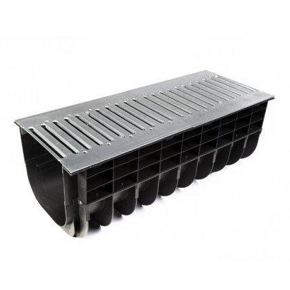 Лоток пластиковый SteeStart PARK в комплекте с решеткой штампованной DN300 H400