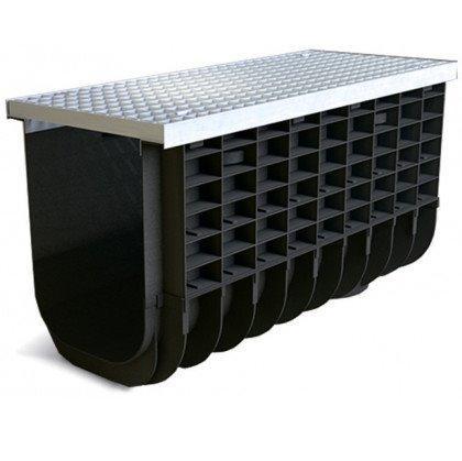 Лоток пластиковый SteeStart  А15 в комплекте с решеткой ячеистой DN300 H475