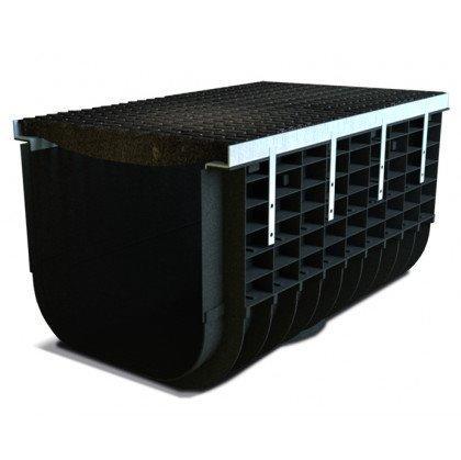 Лоток пластиковый SteeStart  Е600 в комплекте с решеткой чугунной DN500 H315