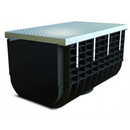 Лоток пластиковый SteeStart  А15 в комплекте с решеткой ячеистой DN500 H365
