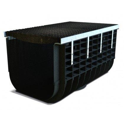 Лоток пластиковый SteeStart  Е600 в комплекте с решеткой чугунной DN500 H415