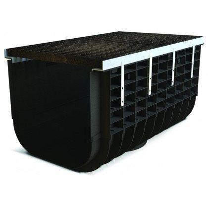 Лоток пластиковый SteeStart  С250 в комплекте с решеткой чугунной DN500 H415