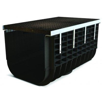 Лоток пластиковый SteeStart  С250 в комплекте с решеткой чугунной DN500 H465