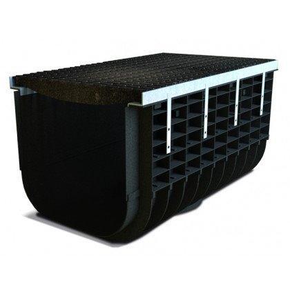 Лоток пластиковый SteeStart  Е600 в комплекте с решеткой чугунной DN500 H515