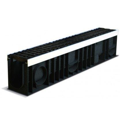 Лоток пластиковый SteeStart  Е600 в комплекте с решеткой чугунной DN100 H200